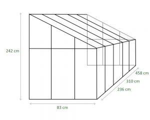 Grafik-Anlehngewächshaus-Maße