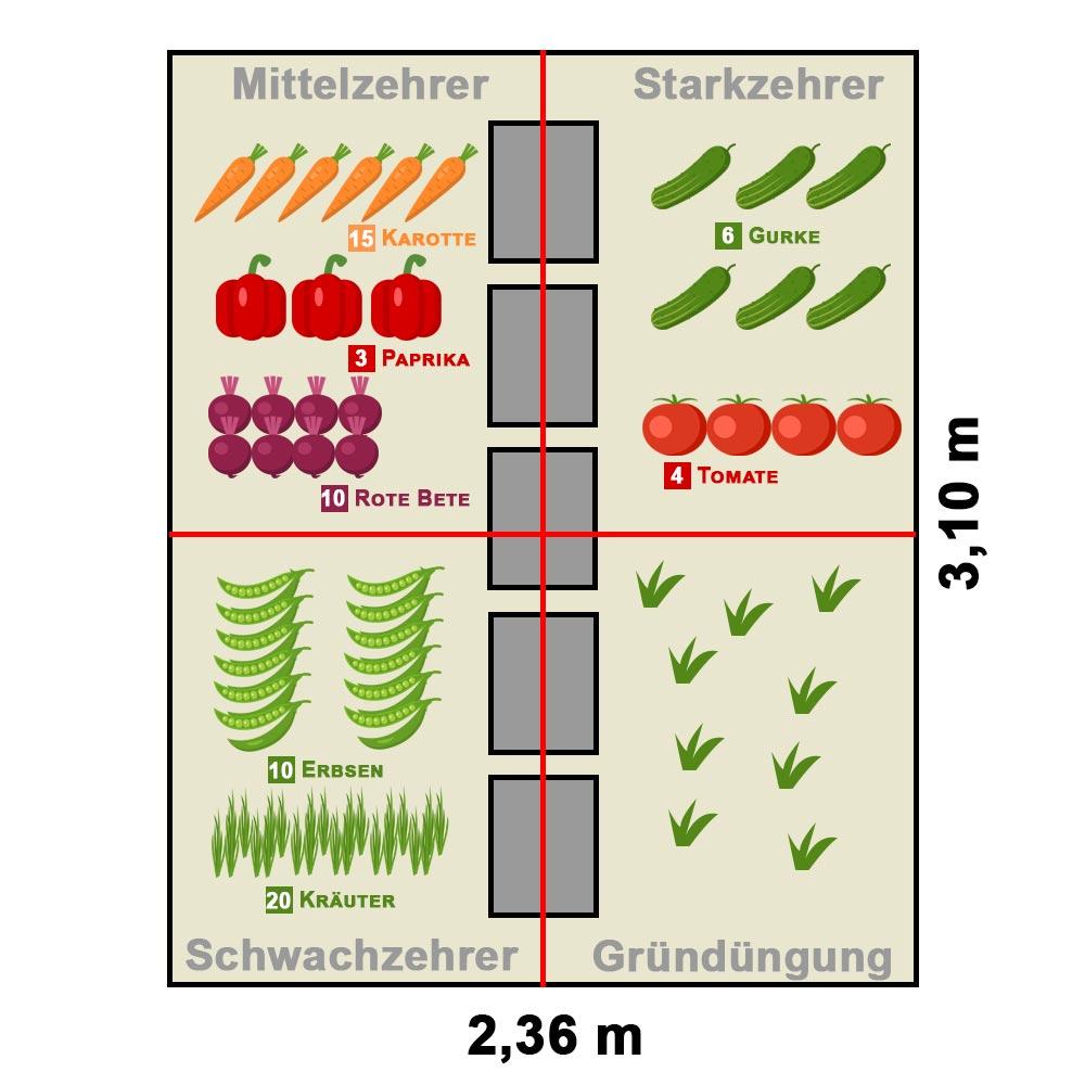 Pflanzplan Beispiel 7,3 Quadratmeter Gewächshaus