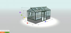 Gewächshaus Konfiguration - Victorian für Maueraufbau VM24, Mod.37, RAL6009 -ZHR166